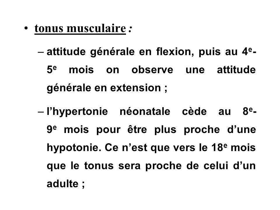 tonus musculaire : –attitude générale en flexion, puis au 4 e - 5 e mois on observe une attitude générale en extension ; –lhypertonie néonatale cède a