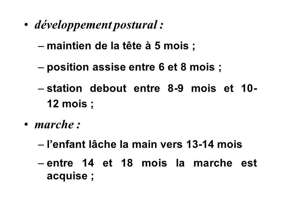 développement postural : –maintien de la tête à 5 mois ; –position assise entre 6 et 8 mois ; –station debout entre 8-9 mois et 10- 12 mois ; marche :