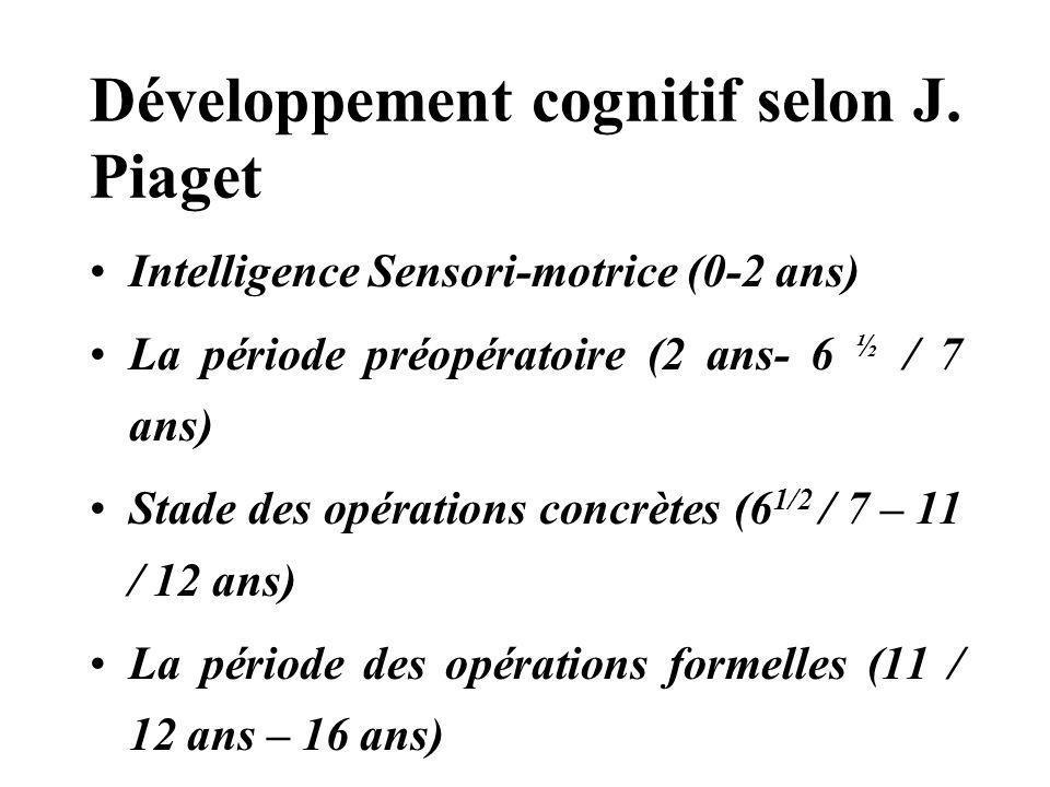 Développement cognitif selon J. Piaget Intelligence Sensori-motrice (0-2 ans) La période préopératoire (2 ans- 6 ½ / 7 ans) Stade des opérations concr