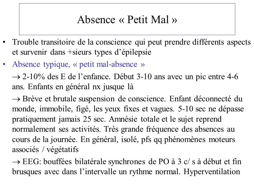 Absence « Petit Mal » Trouble transitoire de la conscience qui peut prendre différents aspects et survenir dans +sieurs types dépilepsie Absence typiq