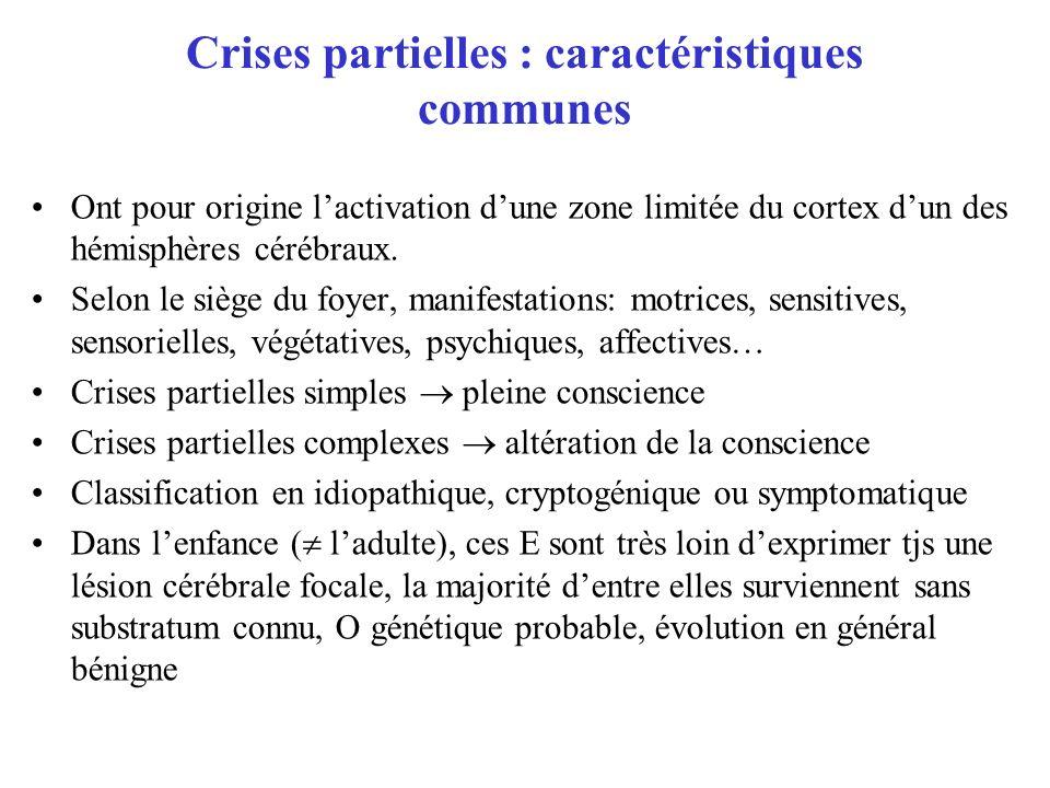 Crises partielles : caractéristiques communes Ont pour origine lactivation dune zone limitée du cortex dun des hémisphères cérébraux. Selon le siège d