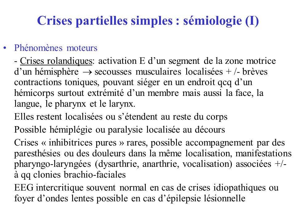 Crises partielles simples : sémiologie (I) Phénomènes moteurs - Crises rolandiques: activation E dun segment de la zone motrice dun hémisphère secouss