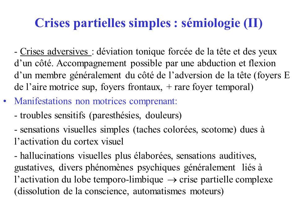Crises partielles simples : sémiologie (II) - Crises adversives : déviation tonique forcée de la tête et des yeux dun côté. Accompagnement possible pa