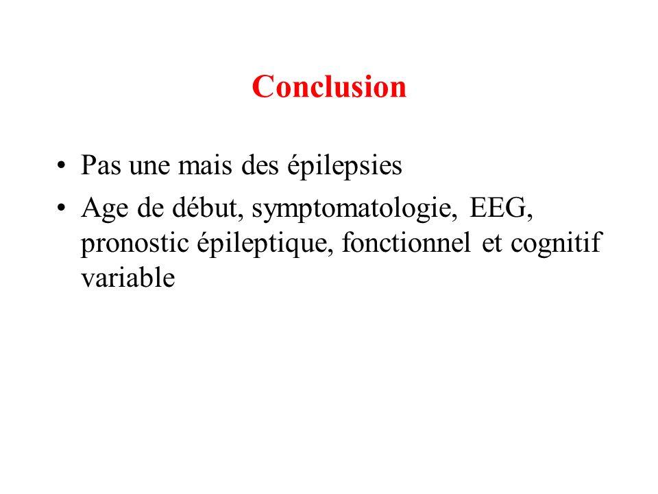 Conclusion Pas une mais des épilepsies Age de début, symptomatologie, EEG, pronostic épileptique, fonctionnel et cognitif variable