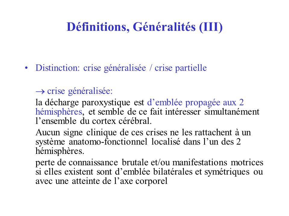 Définitions, Généralités (III) Distinction: crise généralisée / crise partielle crise généralisée: la décharge paroxystique est demblée propagée aux 2