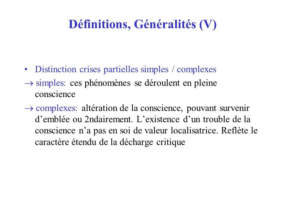 Définitions, Généralités (V) Distinction crises partielles simples / complexes simples: ces phénomènes se déroulent en pleine conscience complexes: al