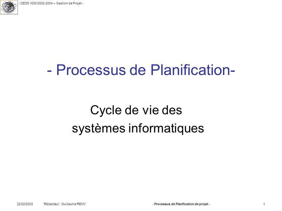 - DESS IGSI 2002-2004 – Gestion de Projet - Rédacteur: Guillaume REMY22/02/2003- Processus de Planfication de projet -1 - Processus de Planification- Cycle de vie des systèmes informatiques