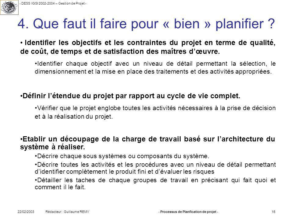 - DESS IGSI 2002-2004 – Gestion de Projet - Rédacteur: Guillaume REMY22/02/2003- Processus de Planfication de projet -16 4.
