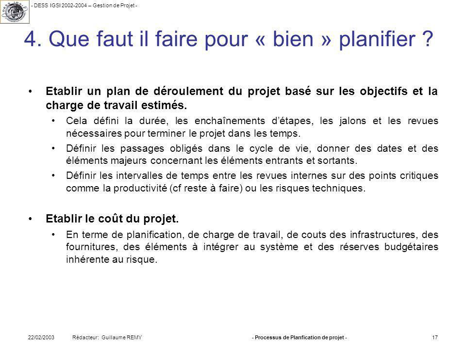 - DESS IGSI 2002-2004 – Gestion de Projet - Rédacteur: Guillaume REMY22/02/2003- Processus de Planfication de projet -17 4.