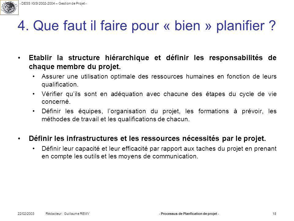 - DESS IGSI 2002-2004 – Gestion de Projet - Rédacteur: Guillaume REMY22/02/2003- Processus de Planfication de projet -18 4.