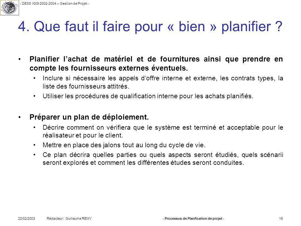 - DESS IGSI 2002-2004 – Gestion de Projet - Rédacteur: Guillaume REMY22/02/2003- Processus de Planfication de projet -19 4.
