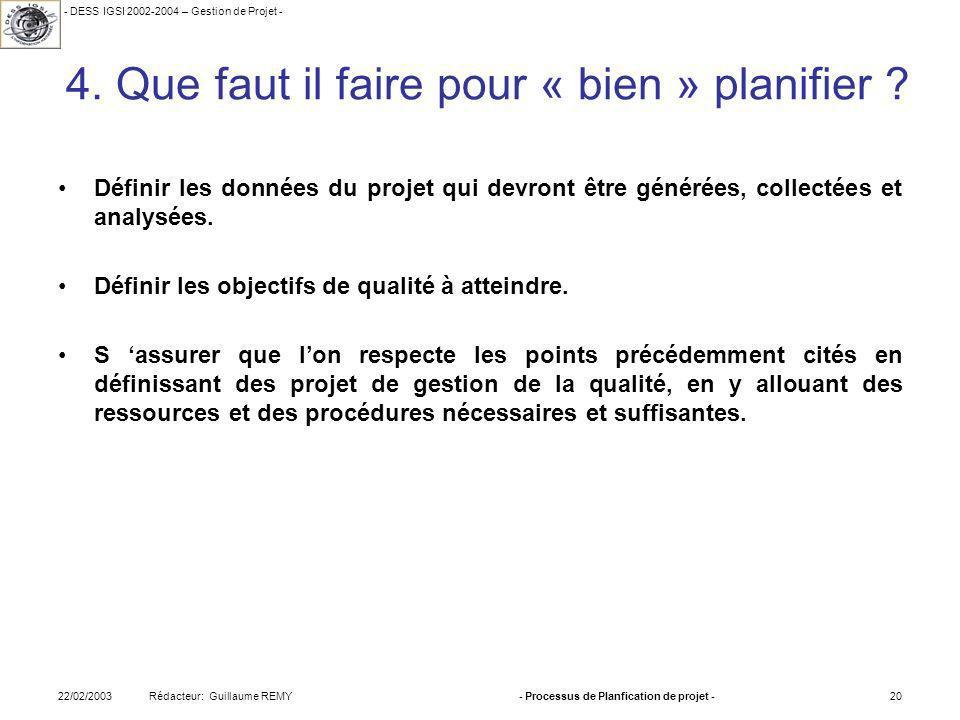 - DESS IGSI 2002-2004 – Gestion de Projet - Rédacteur: Guillaume REMY22/02/2003- Processus de Planfication de projet -20 4.
