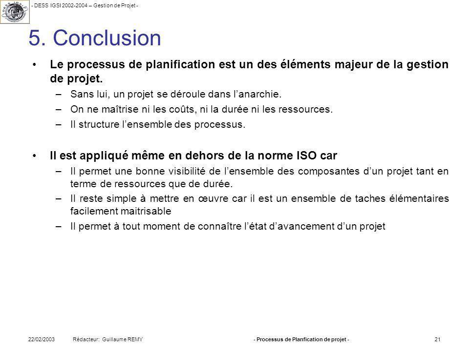 - DESS IGSI 2002-2004 – Gestion de Projet - Rédacteur: Guillaume REMY22/02/2003- Processus de Planfication de projet -21 5.