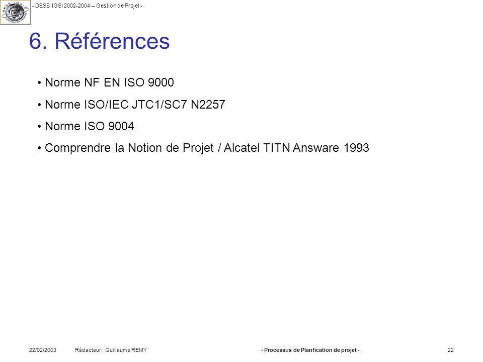 - DESS IGSI 2002-2004 – Gestion de Projet - Rédacteur: Guillaume REMY22/02/2003- Processus de Planfication de projet -22 6.