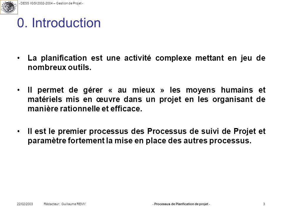 - DESS IGSI 2002-2004 – Gestion de Projet - Rédacteur: Guillaume REMY22/02/2003- Processus de Planfication de projet -3 0.