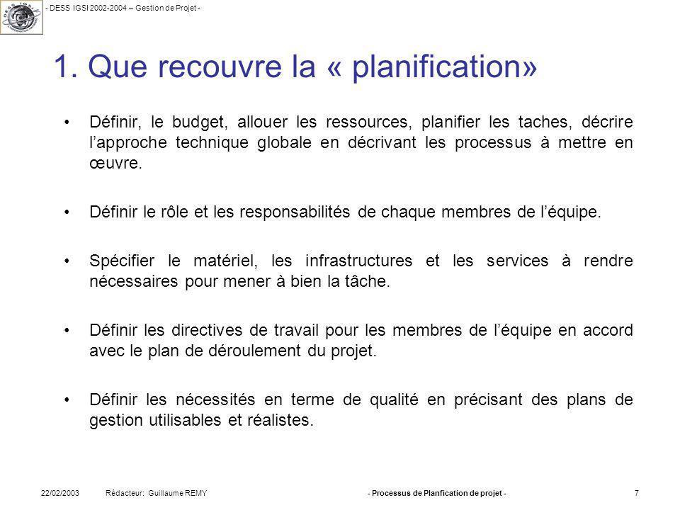 - DESS IGSI 2002-2004 – Gestion de Projet - Rédacteur: Guillaume REMY22/02/2003- Processus de Planfication de projet -7 1.