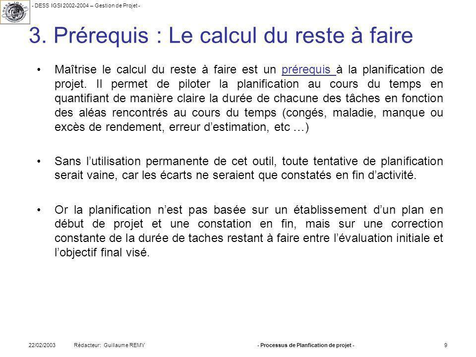 - DESS IGSI 2002-2004 – Gestion de Projet - Rédacteur: Guillaume REMY22/02/2003- Processus de Planfication de projet -9 3.