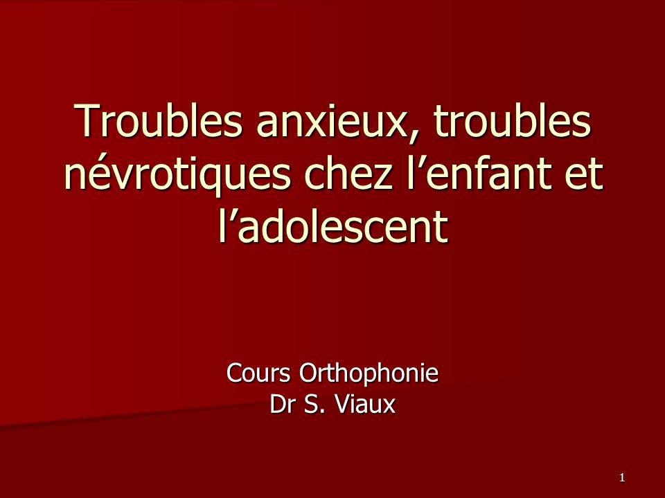 1 Troubles anxieux, troubles névrotiques chez lenfant et ladolescent Cours Orthophonie Dr S. Viaux