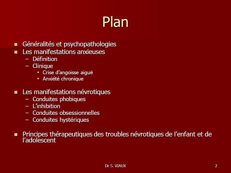 Dr S. VIAUX2 Plan Généralités et psychopathologies Généralités et psychopathologies Les manifestations anxieuses Les manifestations anxieuses –Définit