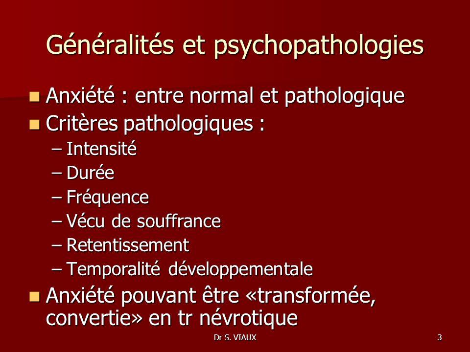 Dr S. VIAUX3 Généralités et psychopathologies Anxiété : entre normal et pathologique Anxiété : entre normal et pathologique Critères pathologiques : C