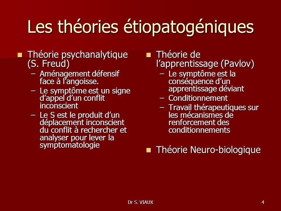 Dr S. VIAUX4 Les théories étiopatogéniques Théorie psychanalytique (S. Freud) Théorie psychanalytique (S. Freud) –Aménagement défensif face à langoiss