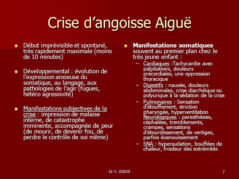 Dr S. VIAUX7 Crise dangoisse Aiguë Début imprévisible et spontané, très rapidement maximale (moins de 10 minutes) Début imprévisible et spontané, très