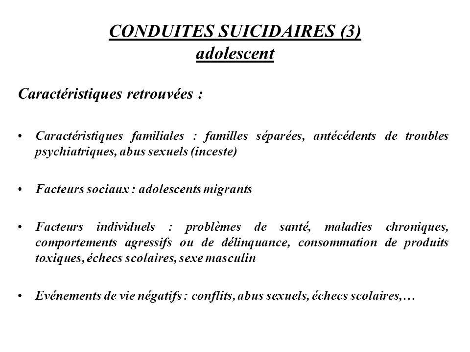CONDUITES SUICIDAIRES (3) adolescent Caractéristiques retrouvées : Caractéristiques familiales : familles séparées, antécédents de troubles psychiatri