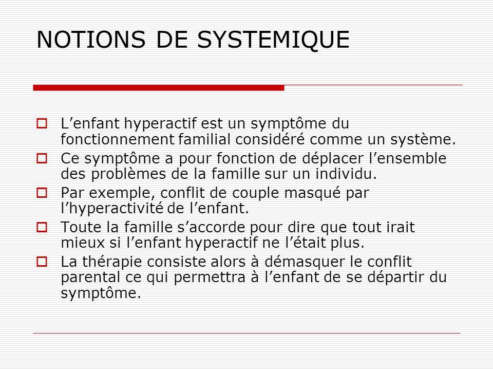 NOTIONS DE SYSTEMIQUE Lenfant hyperactif est un symptôme du fonctionnement familial considéré comme un système. Ce symptôme a pour fonction de déplace