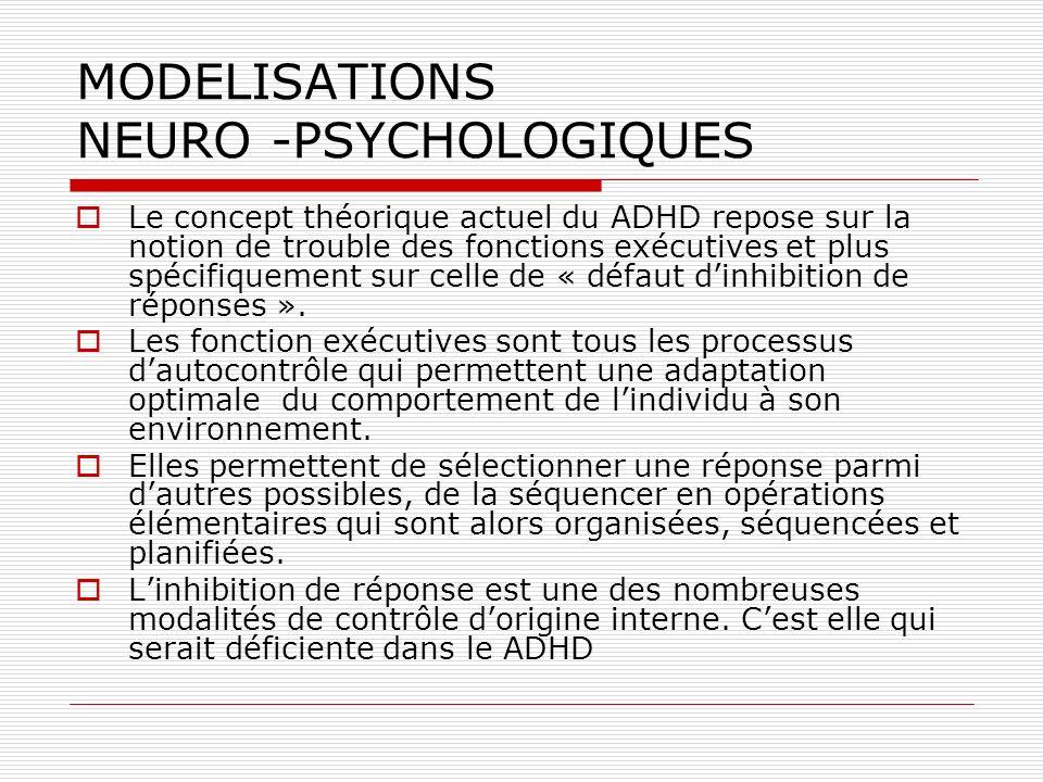 MODELISATIONS NEURO -PSYCHOLOGIQUES Le concept théorique actuel du ADHD repose sur la notion de trouble des fonctions exécutives et plus spécifiquemen