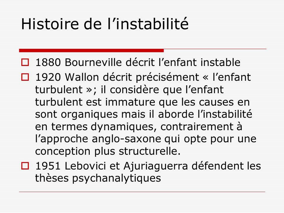 Histoire de linstabilité 1880 Bourneville décrit lenfant instable 1920 Wallon décrit précisément « lenfant turbulent »; il considère que lenfant turbu