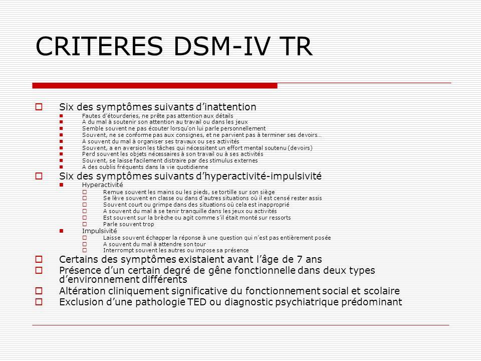 CRITERES DSM-IV TR Six des symptômes suivants dinattention Fautes détourderies, ne prête pas attention aux détails A du mal à soutenir son attention a