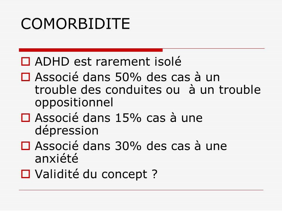 COMORBIDITE ADHD est rarement isolé Associé dans 50% des cas à un trouble des conduites ou à un trouble oppositionnel Associé dans 15% cas à une dépre