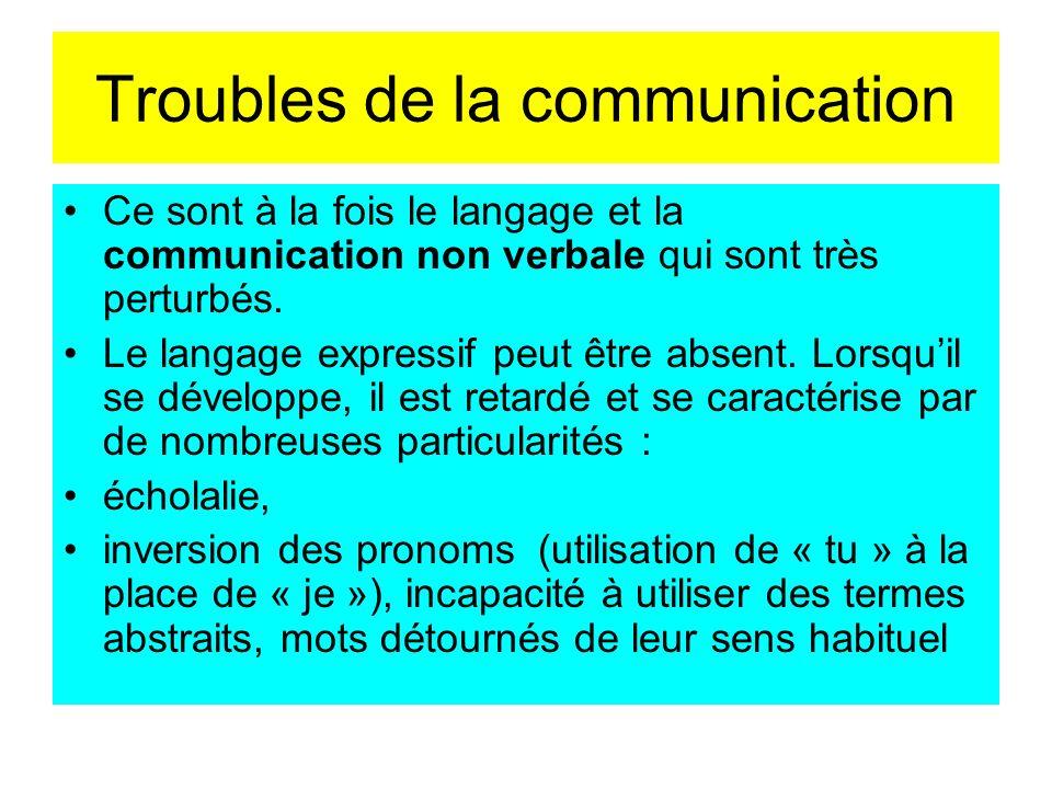 Troubles de la communication Ce sont à la fois le langage et la communication non verbale qui sont très perturbés. Le langage expressif peut être abse