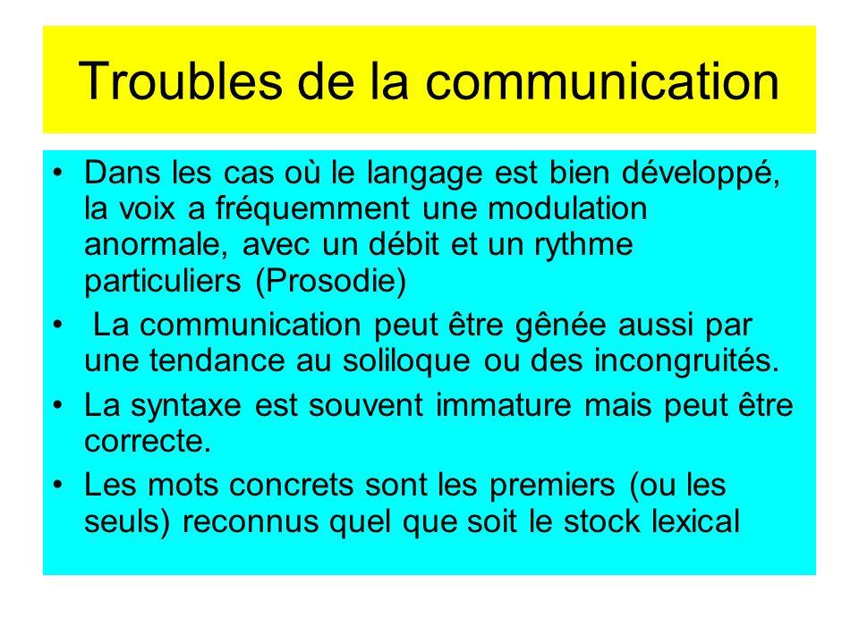 Troubles de la communication Dans les cas où le langage est bien développé, la voix a fréquemment une modulation anormale, avec un débit et un rythme