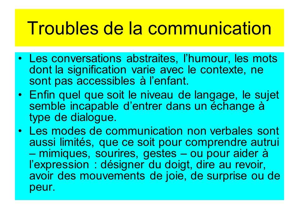 Troubles de la communication Les conversations abstraites, lhumour, les mots dont la signification varie avec le contexte, ne sont pas accessibles à l
