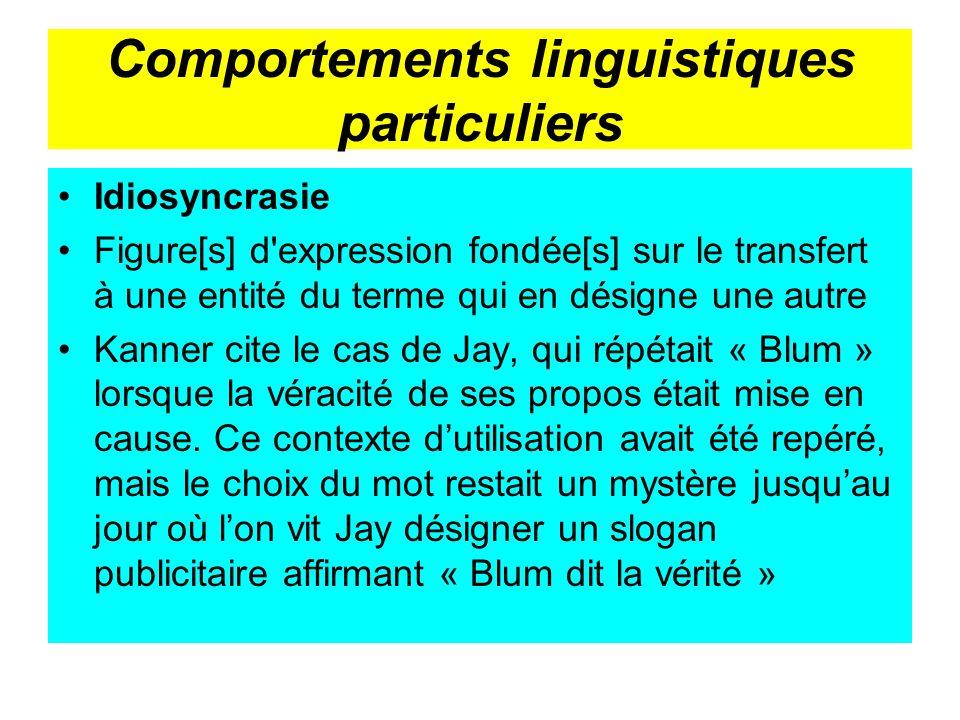 Comportements linguistiques particuliers Idiosyncrasie Figure[s] d'expression fondée[s] sur le transfert à une entité du terme qui en désigne une autr