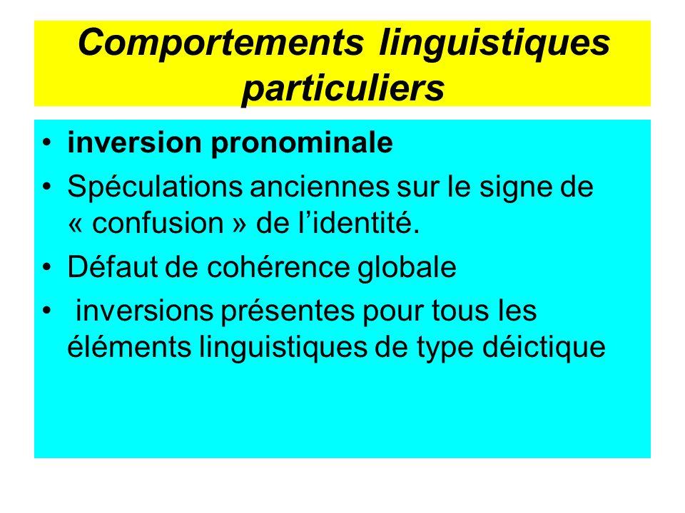 Comportements linguistiques particuliers inversion pronominale Spéculations anciennes sur le signe de « confusion » de lidentité. Défaut de cohérence