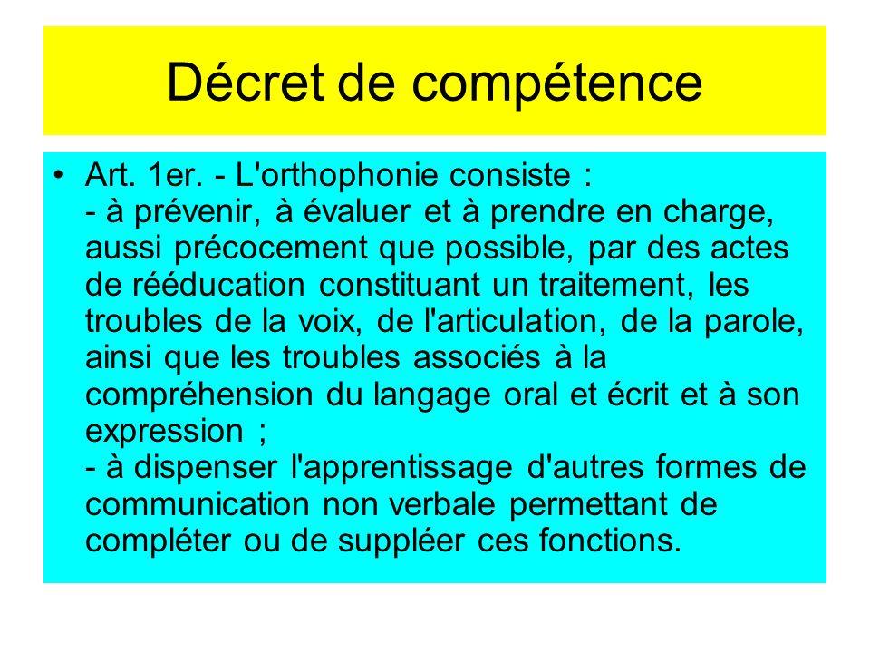 Décret de compétence Art. 1er. - L'orthophonie consiste : - à prévenir, à évaluer et à prendre en charge, aussi précocement que possible, par des acte