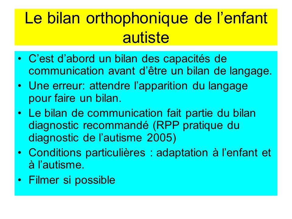 Le bilan orthophonique de lenfant autiste Cest dabord un bilan des capacités de communication avant dêtre un bilan de langage. Une erreur: attendre la