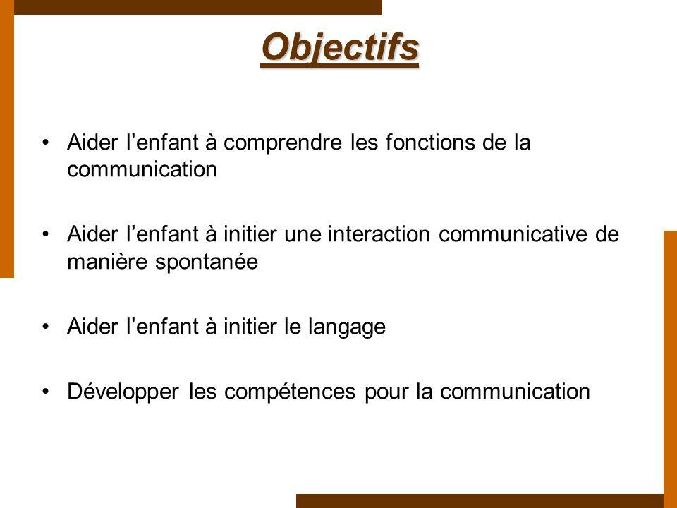 Objectifs Aider lenfant à comprendre les fonctions de la communication Aider lenfant à initier une interaction communicative de manière spontanée Aide