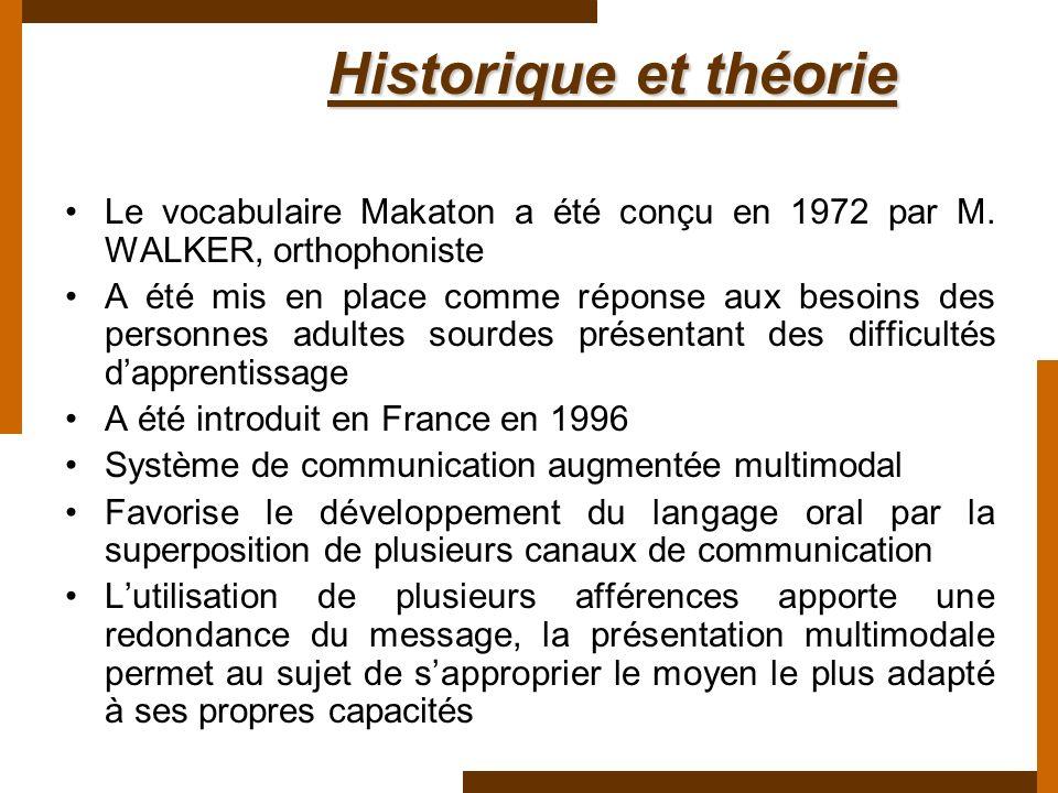 Historique et théorie Historique et théorie Le vocabulaire Makaton a été conçu en 1972 par M. WALKER, orthophoniste A été mis en place comme réponse a