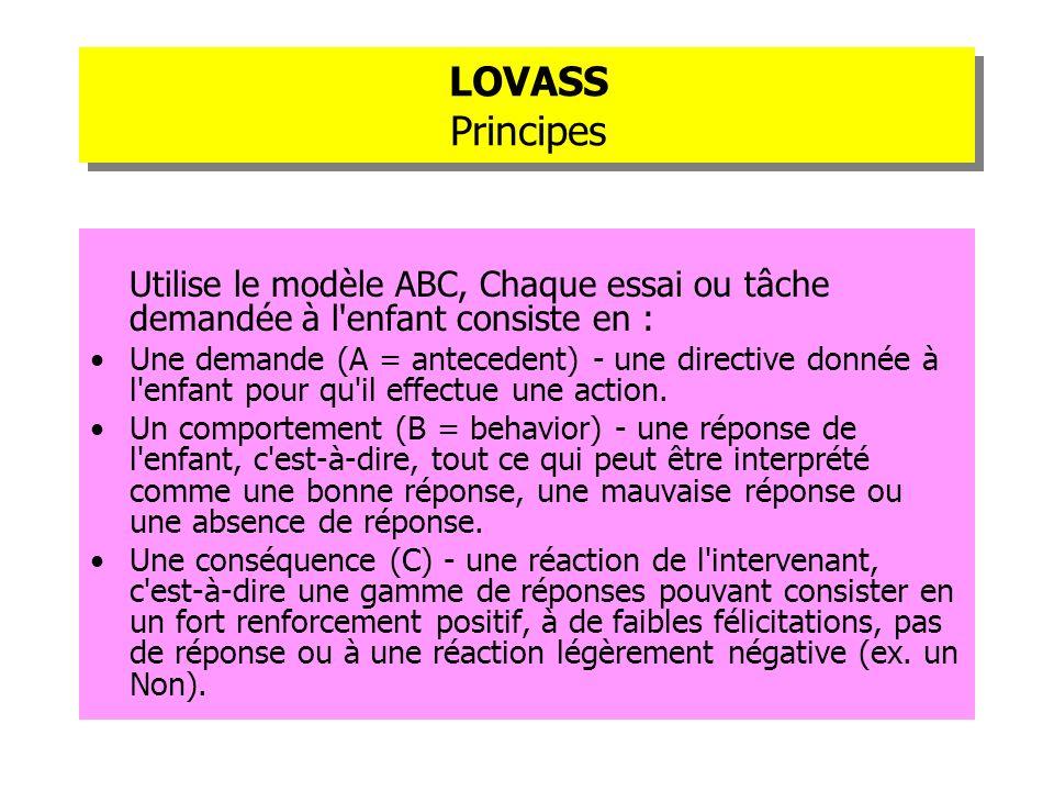 LOVASS Principes Utilise le modèle ABC, Chaque essai ou tâche demandée à l'enfant consiste en : Une demande (A = antecedent) - une directive donnée à