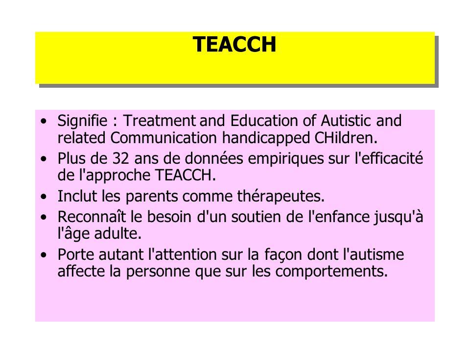 TEACCH Signifie : Treatment and Education of Autistic and related Communication handicapped CHildren. Plus de 32 ans de données empiriques sur l'effic