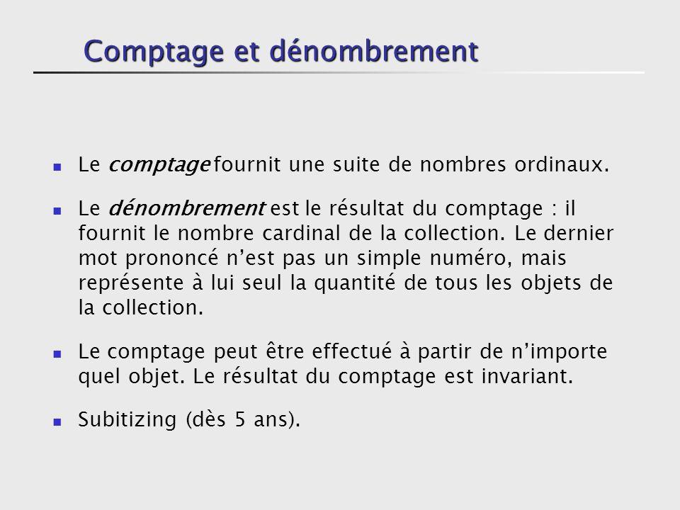 Comptage et dénombrement Le comptage fournit une suite de nombres ordinaux.