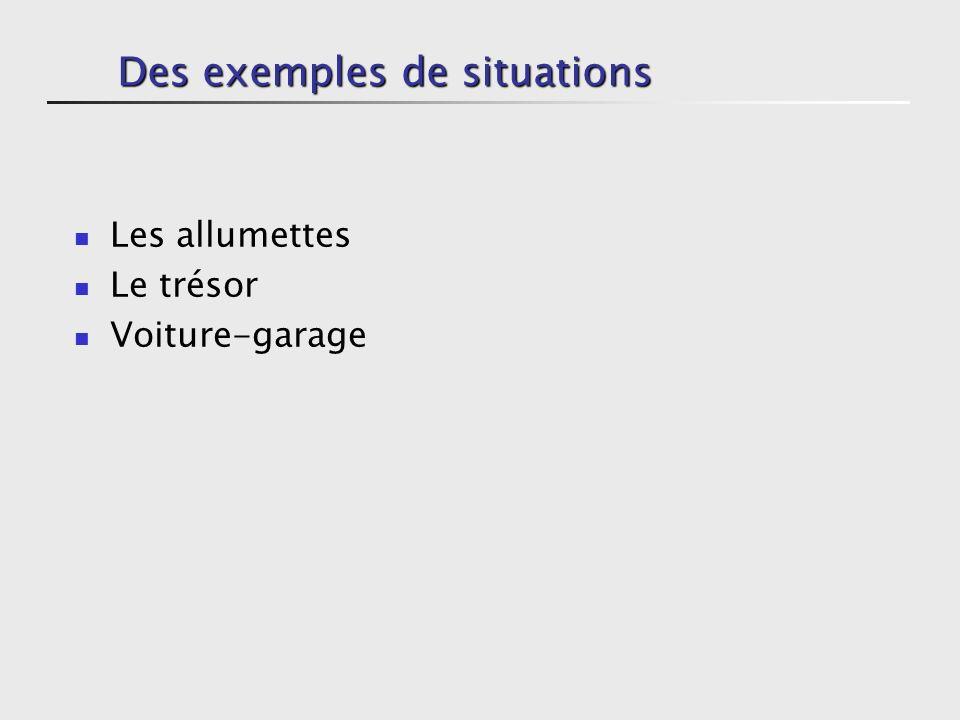 Des exemples de situations Les allumettes Le trésor Voiture-garage