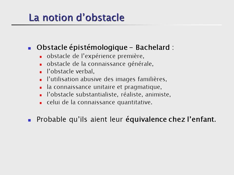 La notion dobstacle Obstacle épistémologique - Bachelard : obstacle de lexpérience première, obstacle de la connaissance générale, lobstacle verbal, lutilisation abusive des images familières, la connaissance unitaire et pragmatique, lobstacle substantialiste, réaliste, animiste, celui de la connaissance quantitative.