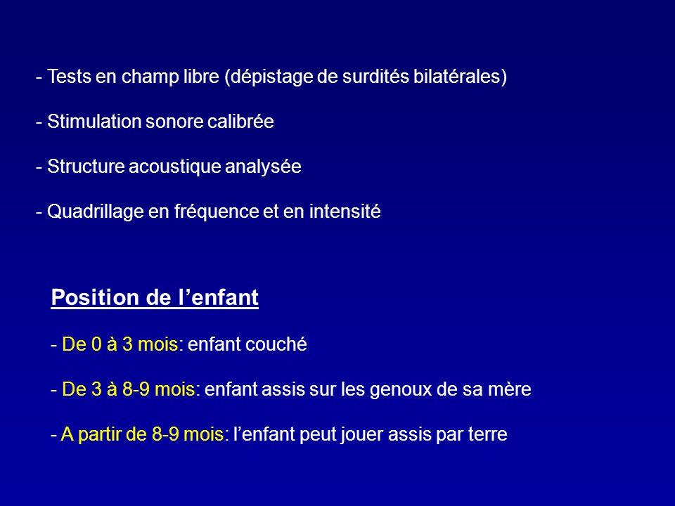- Tests en champ libre (dépistage de surdités bilatérales) - Stimulation sonore calibrée - Structure acoustique analysée - Quadrillage en fréquence et