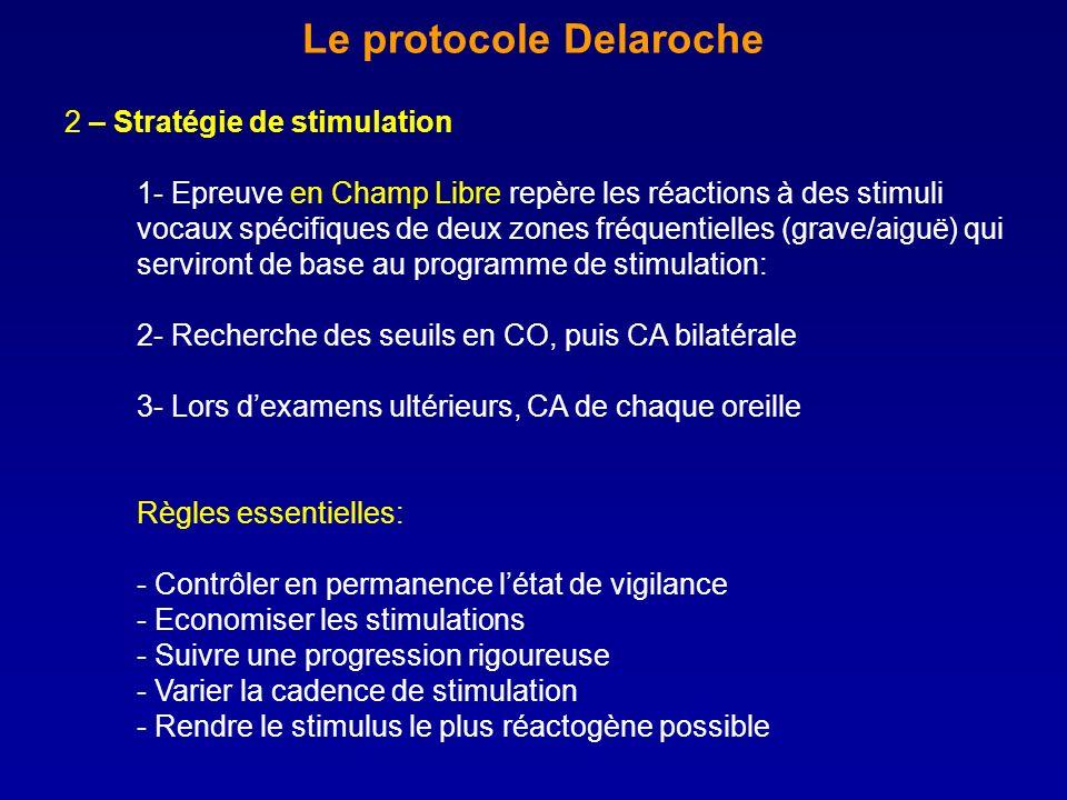 Le protocole Delaroche 2 – Stratégie de stimulation 1- Epreuve en Champ Libre repère les réactions à des stimuli vocaux spécifiques de deux zones fréq