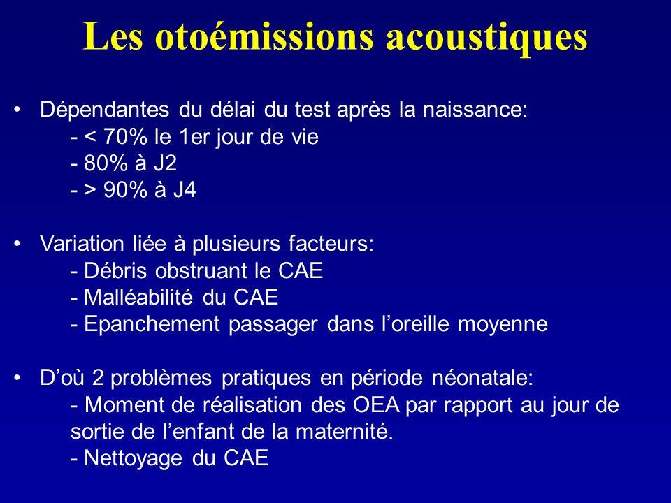 Les otoémissions acoustiques Dépendantes du délai du test après la naissance: - < 70% le 1er jour de vie - 80% à J2 - > 90% à J4 Variation liée à plus