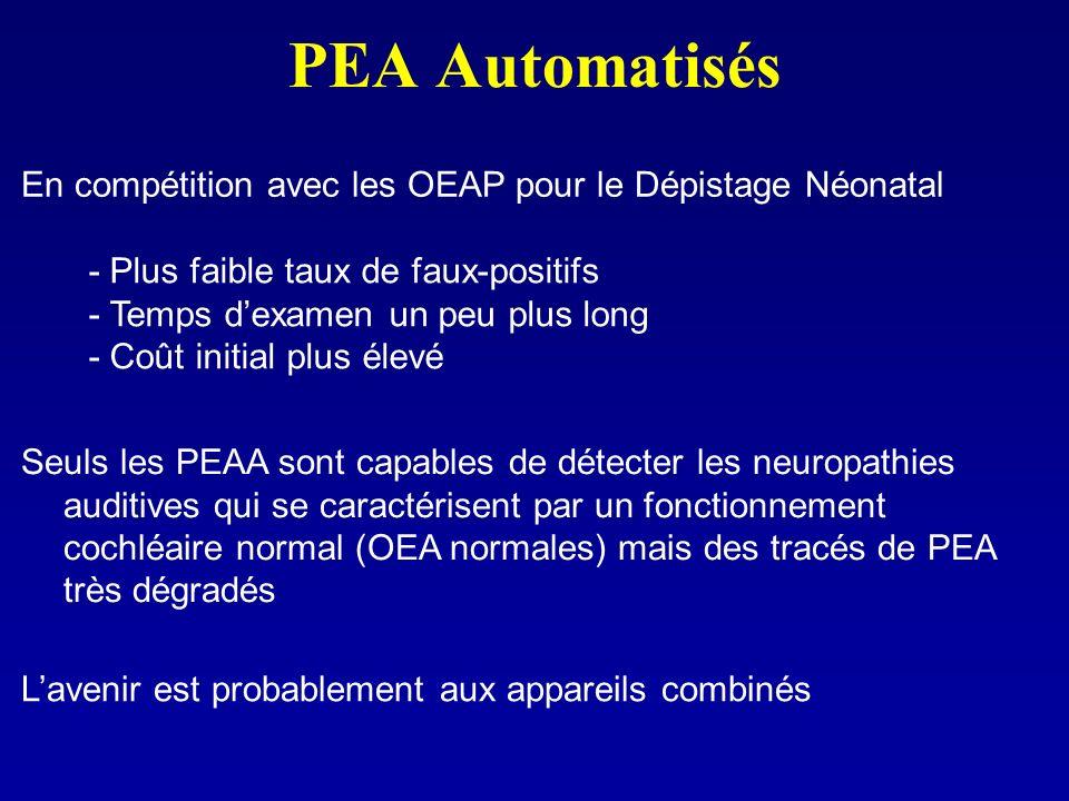 PEA Automatisés En compétition avec les OEAP pour le Dépistage Néonatal - Plus faible taux de faux-positifs - Temps dexamen un peu plus long - Coût in
